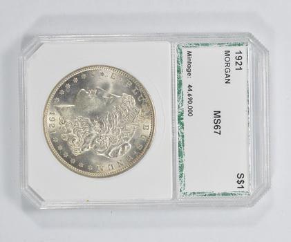 MS67 1921 Morgan Silver Dollar - PCI Graded