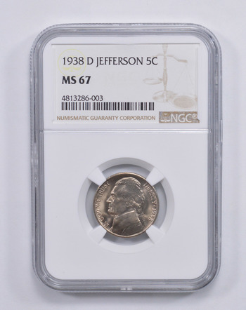 MS67 1938-D Jefferson Nickel - NGC Graded