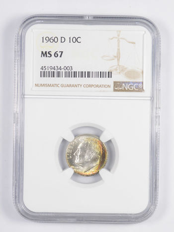 MS67 1960-D Roosevelt Dime - RAINBOW TONED - Graded NGC