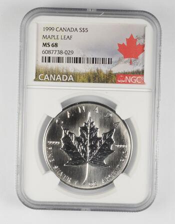 MS68 1999 Canada $5 - 1 Oz. Silver Maple Leaf - Graded NGC -