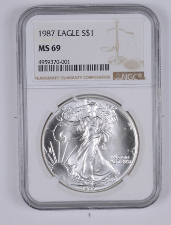 MS69 1987 American Silver Eagle - Graded NGC