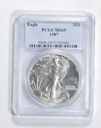 MS69 1987 American Silver Eagle - Graded PCGS -