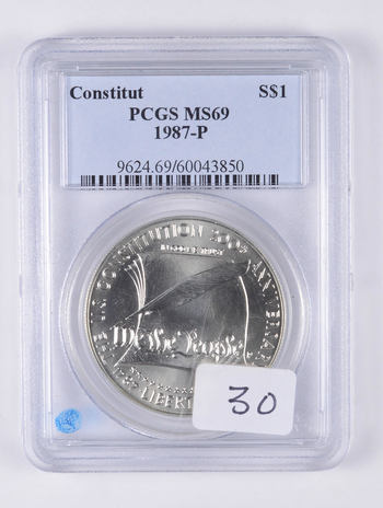 MS69 1987-P U.S. Constitution Bicentennial Commemorative Silver Dollar - Graded PCGS