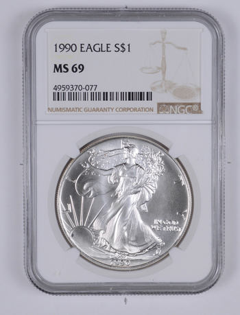 MS69 1990 American Silver Eagle - Graded NGC