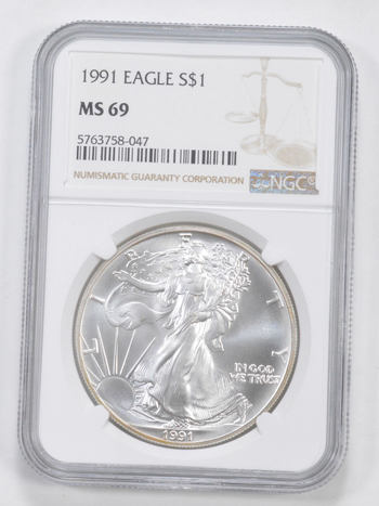 MS69 1991 American Silver Eagle - Graded NGC
