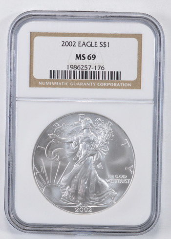 MS69 2002 American Silver Eagle - Graded NGC