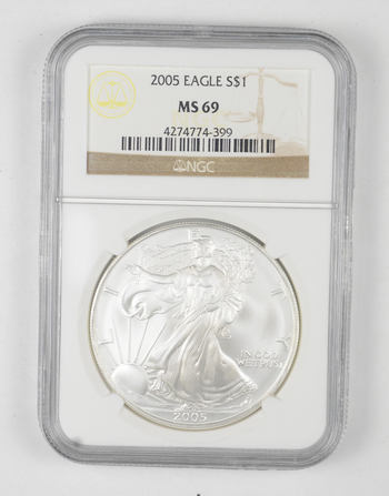MS69 2005 American Silver Eagle - Graded NGC
