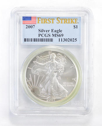 MS69 2007 American Silver Eagle - First Strike - Graded PCGS