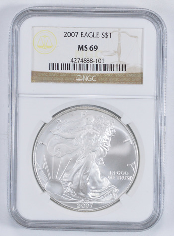 MS69 2007 American Silver Eagle - Graded NGC