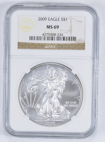 MS69 2009 American Silver Eagle - Graded NGC