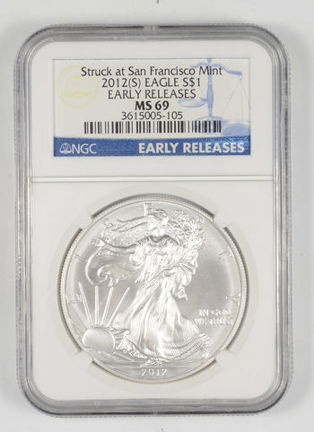 MS69 2012 American Silver Eagle - Struck At San Francisco - Early Releases - Graded NGC