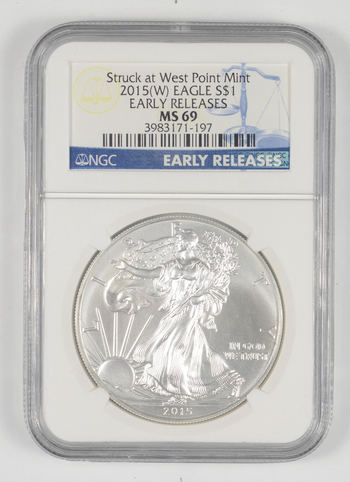 MS69 2015 American Silver Eagle - Struck At West Point - Early Releases - Graded NGC