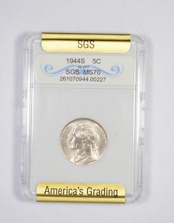 MS70 1944-S Jefferson Silver Nickel - Graded SGS