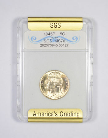 MS70 1945-P Jefferson Silver Nickel - Graded SGS