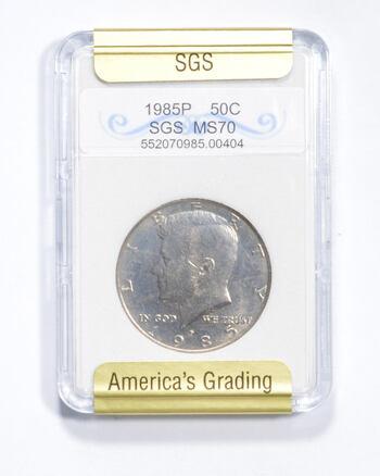 MS70 1985-P Kennedy Half Dollar - Graded SGS