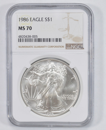MS70 1986 American Silver Eagle - NGC Graded