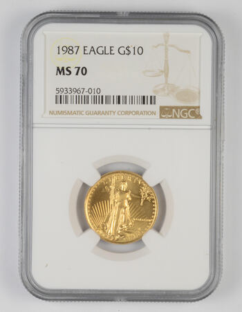 MS70 1987 $10 American Gold Eagle - 1/4 Oz. Fine Gold - Graded NGC