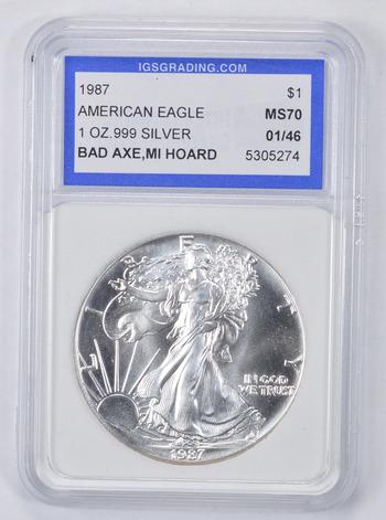 MS70 1987 American Silver Eagle - Bad Axe - MI Hoard - Graded IGS