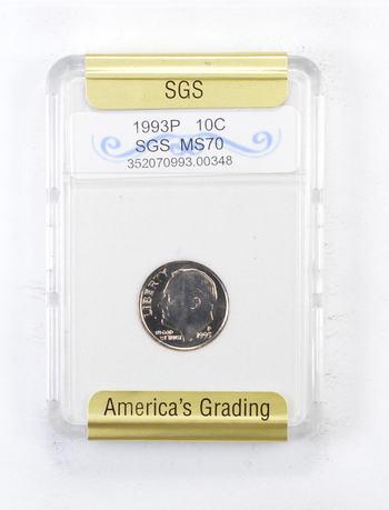 MS70 1993-P Roosevelt Dime - Graded SGS