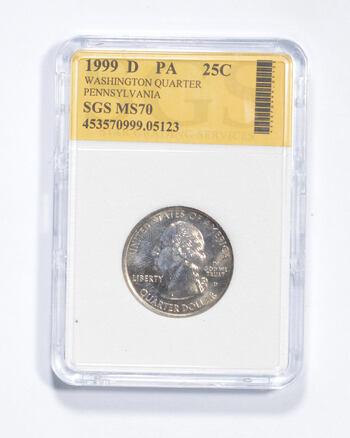 MS70 1999-D Pennsylvania State Washington Quarter - Graded SGS