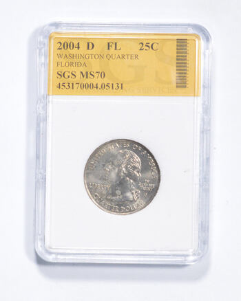 MS70 2004-D Florida State Washington Quarter - Graded SGS