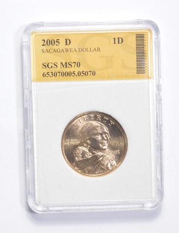 MS70 2005-D Sacagawea Dollar - Graded SGS