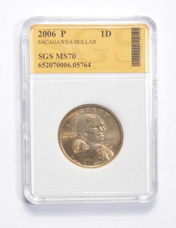 MS70 2006-P Sacagawea Dollar - Graded SGS