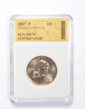MS70 2007-P Sacagawea Dollar - Graded SGS
