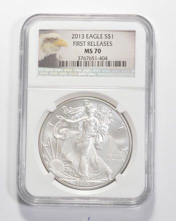 MS70 2013 American Silver Eagle - First Releases - Graded NGC