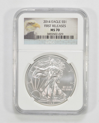 MS-70 - 2014 American Silver Eagle - Graded NGC - First Releases