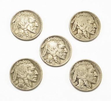 Mystery Lot: 5 Assorted Full Date Buffalo Nickels