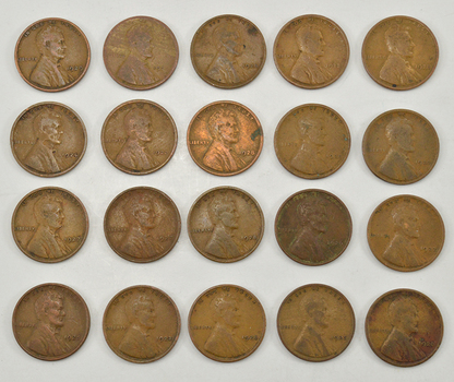 Mystery Lot of 20 1920-1929 Early Lincoln Wheat Cents