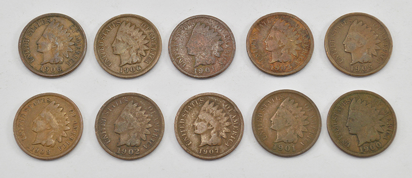 Mystery Lot:10 Assorted 1900-1909 Indian Head Cents