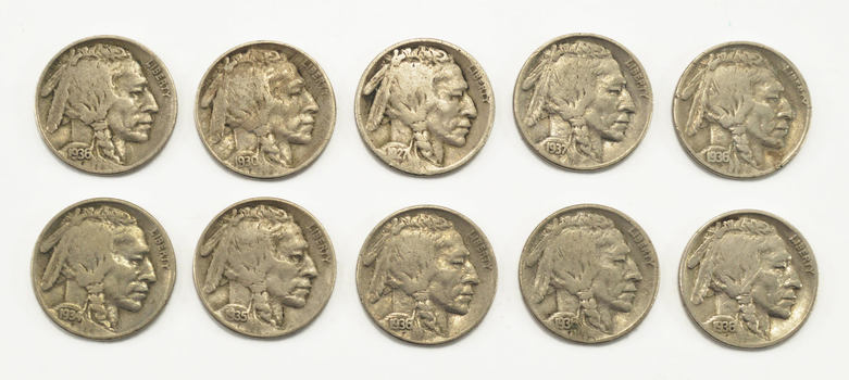 Mystery Lot: 10 Assorted Full Date Buffalo Nickels 1913-1938