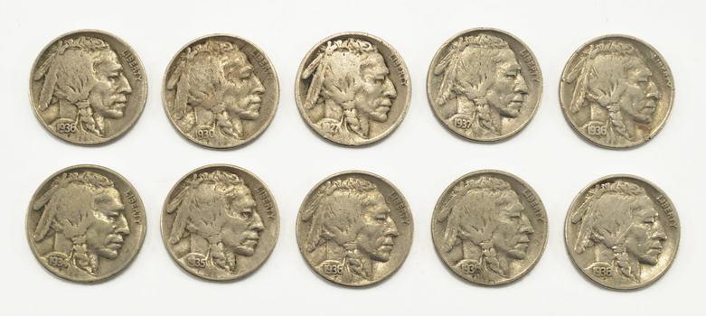 Mystery Lot:10 Assorted Full Date Buffalo Nickels 1913-1938