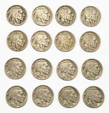 Mystery Lot:15 Assorted Full Date Buffalo Nickels 1913-1938