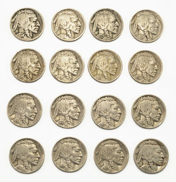 Mystery Lot: 15 Assorted Full Date Buffalo Nickels 1913-1938