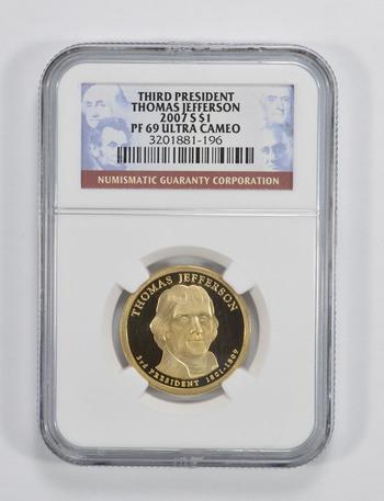 NGC Graded Third President Thomas Jefferson 2007S $1 PF 69 Ultra Cameo