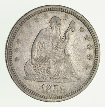 No Reserve - 1858 Seated Liberty Quarter - Circulated