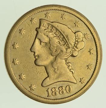 No Reserve - 1880-CC $5.00 Liberty Head Gold Half Eagle - CARSON CITY