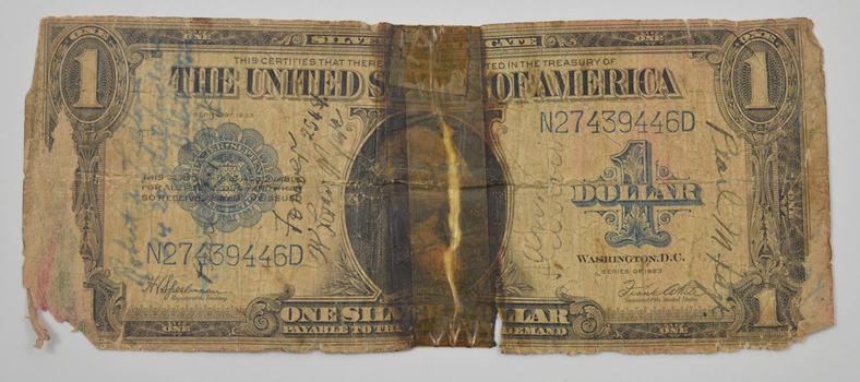 No Reserve - 1923 $1.00 Short Snorter Silver Certificate Large Size Horseblanket Note - w/ Signatures