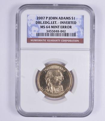 No Reserve - MS64 Mint Error 2007-P John Adams Presidential Dollar - NGC Graded