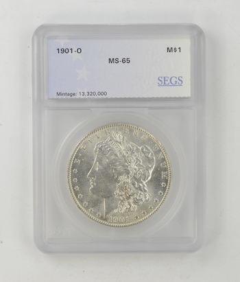 No Reserve - MS65 1901-O Morgan Silver Dollar - SEGS Graded