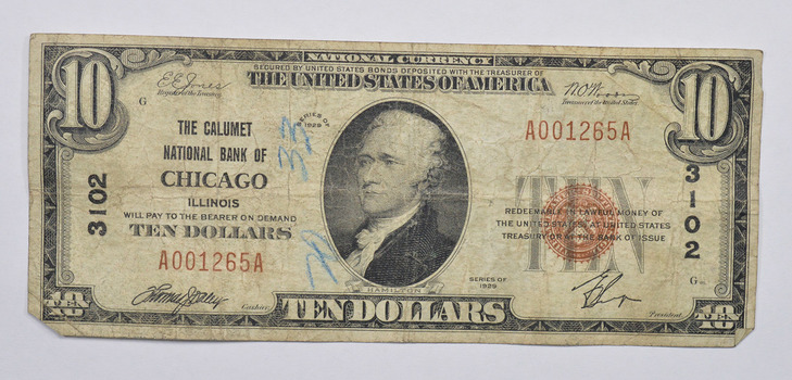 No Reserve - Series 1929 $10.00 Chicago, IL Charter No. 3102 National Bank Note