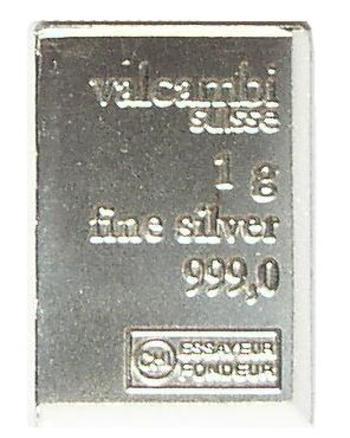 One Gram .999 Fine Silver Valcambi Bar