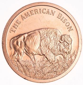 One Oz. .999 Fine Copper Round - The American Bison