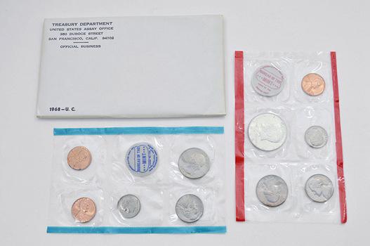 Original 1968 10 Coin U.S. Mint P D & S Including 40% Silver Kennedy Half Dollar