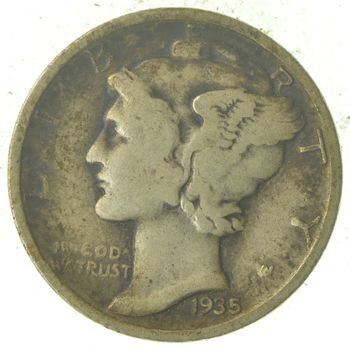 Over 70 Years Old United States Mercury Head Dime - 1935