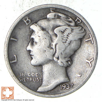 Over 70 Years Old United States Mercury Head Dime - 1937-D