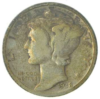 Over 70 Years Old United States Mercury Head Dime - 1938